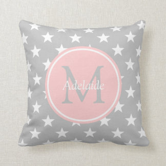 Ash Grey and Baby Pink Stars Monogram Throw Pillow