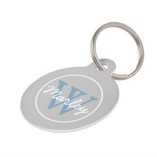 Ash Grey and Carolina Blue Monogram Pet Tag