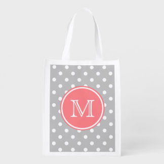 Ash Grey and White Polka Dots with Coral Pink Reusable Grocery Bag