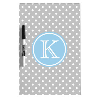 Ash Grey and White Polka Dots with Cottage Blue Dry Erase Board
