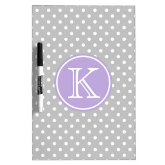 Ash Grey and White Polka Dots with Lavender Dry Erase Board