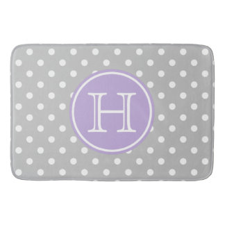 Ash Grey and White Polka Dots With Sweet Lavender Bath Mat