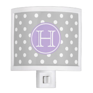 Ash Grey and White Polka Dots With Sweet Lavender Night Lite