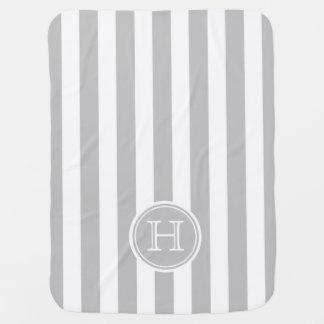 Ash Grey and White Stripe Monogram Baby Blanket