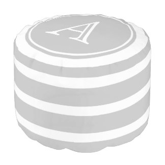 Ash Grey and White Stripe Monogram Pouf