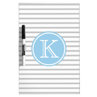 Ash Grey and White Stripes with Cottage Blue Dry Erase Board