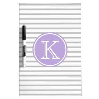 Ash Grey and White Stripes with Cottage Lavender Dry Erase Board