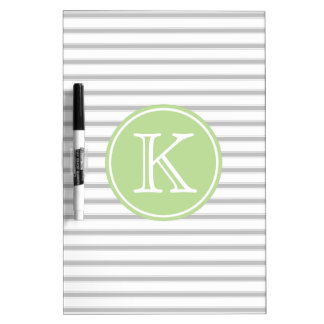 Ash Grey and White Stripes with Mint Green Dry Erase Board