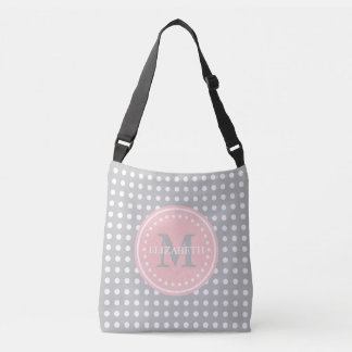 Ash Grey Baby Pink Polka Dot Monogram Diaper Bag