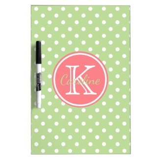 Ash Grey White Polka Dots With Coral Pink Monogram Dry Erase Board