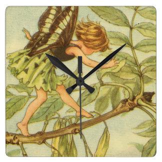 Ash Tree Fairy Walking on Branch Wall Clock