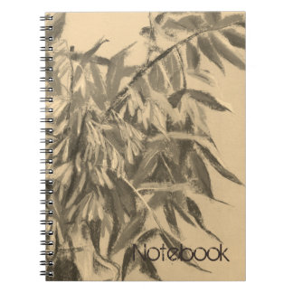 Ash-tree monochrome sepia brown foliage floral art spiral notebook