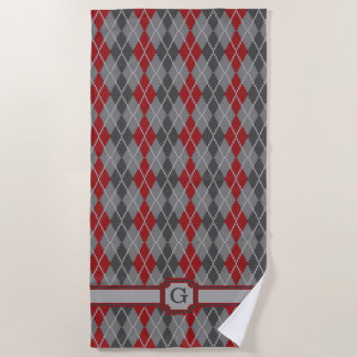 Ashes and Embers Argyle Beach Towel