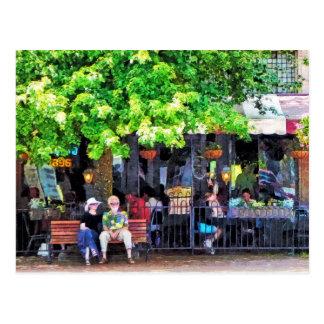 Asheville NC Outdoor Cafe Postcard