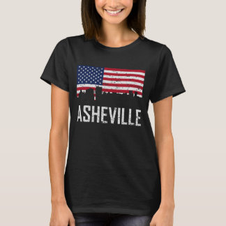 Asheville North Carolina Skyline American Flag Dis T-Shirt