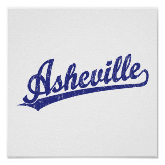 Asheville script logo in blue poster