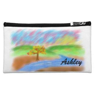 Ashley_Digital Painting Hills Tree River Sunset Cosmetic Bag