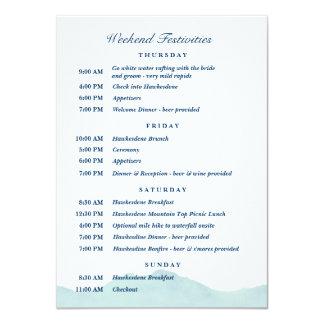 "Ashley & Nolan's Wedding Schedule 1 4.5"" X 6.25"" Invitation Card"