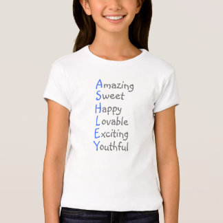 Ashley - Personalized Blue Acrostic with Virtues T-Shirt