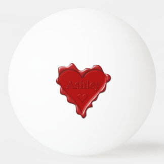 Ashley. Red heart wax seal with name Ashley Ping Pong Ball