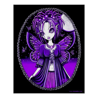 Ashly Purple Butterfly Moon Fairy Poster