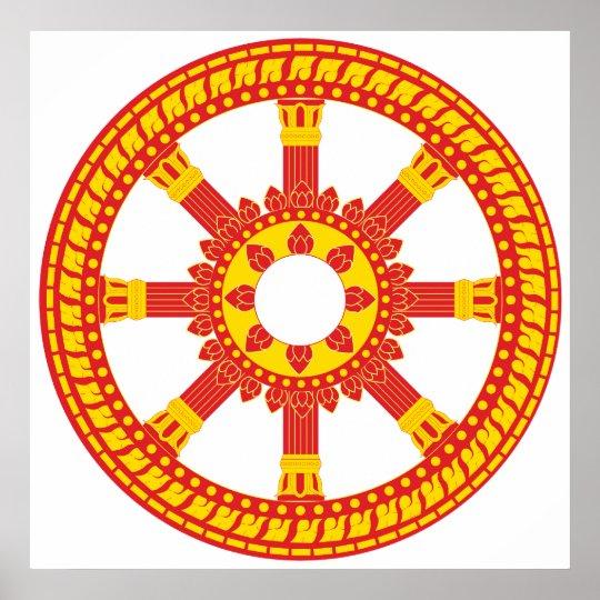 Ashtamangala Symbol Dharmachakra Wheel of Dharma Poster