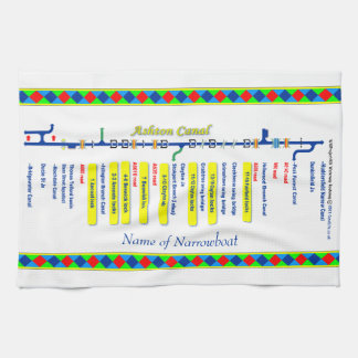 Ashton Canal Route UK Waterways Yellow Kitchen Towel