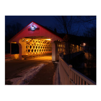 Ashuelot Covered Bridge Winchester NH at Night Postcard
