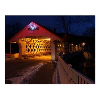 Ashuelot Covered Bridge Winchester NH at Night Postcard