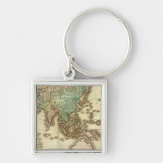 Asia 32 Silver-Colored square keychain