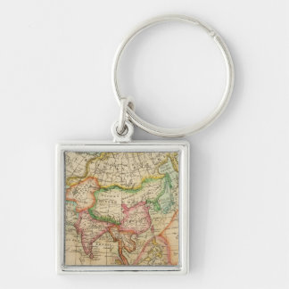 Asia 35 Silver-Colored square keychain