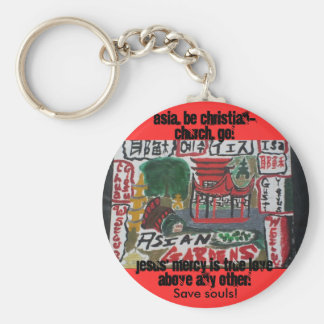 Asia, be christian! art basic round button keychain