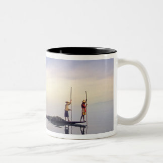 Asia, Burma, (Myanmar) Fishing boat reflected on Two-Tone Coffee Mug