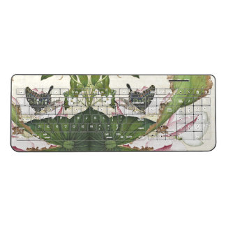 Asia Butterfly Lotus Flower Pond Wireless Keyboard