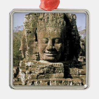 Asia, Cambodia, Siem Reap. Angkor Thom, heads of Silver-Colored Square Ornament