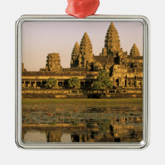 Asia, Cambodia, Siem Reap. Angkor Wat. Square Metal Christmas Ornament