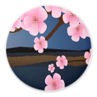 Asia Cherry Blooms Ceramic Knob