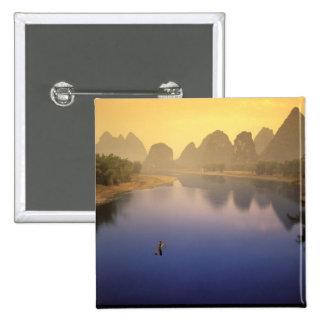 Asia, China, Guangxi Province, Yangshuo. Lone 2 Inch Square Button