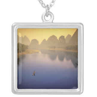 Asia, China, Guangxi Province, Yangshuo. Lone Square Pendant Necklace
