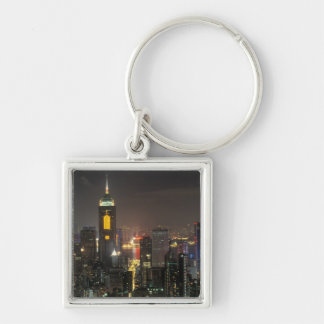 Asia, China, Hong Kong, central from Stubbs road Silver-Colored Square Keychain