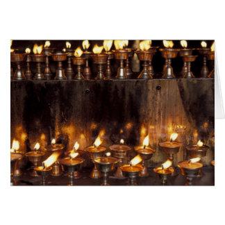 Asia, China, Tibet, Lhasa. Prayer flames, Card
