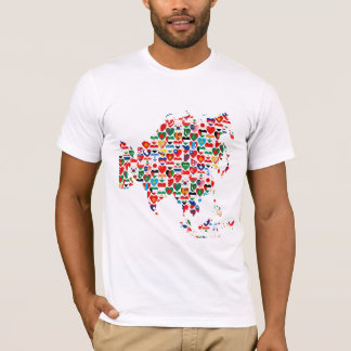 Asia Flag Hearts Map T-Shirt