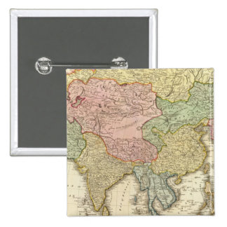 Asia Hand Colored Map 2 Inch Square Button