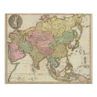 Asia Hand Colored Map Poster