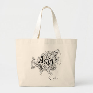 Asia in Tagxedo Large Tote Bag