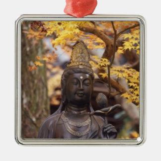Asia, Japan, Buddha Silver-Colored Square Ornament