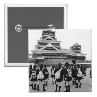 Asia, Japan, Kumamoto. Schoolchildren at 2 Inch Square Button