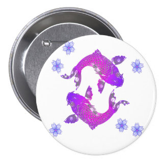 Asia Koi 3 Inch Round Button