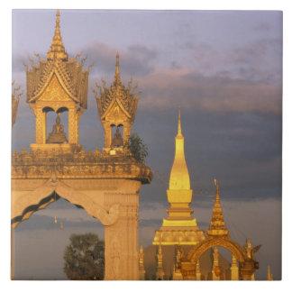 Asia, Laos, Vientiane. That Luang Temple. Tile