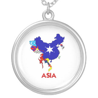 ASIA MAP ROUND PENDANT NECKLACE